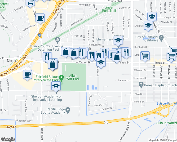 map of restaurants, bars, coffee shops, grocery stores, and more near 44 Curtis Drive in Fairfield