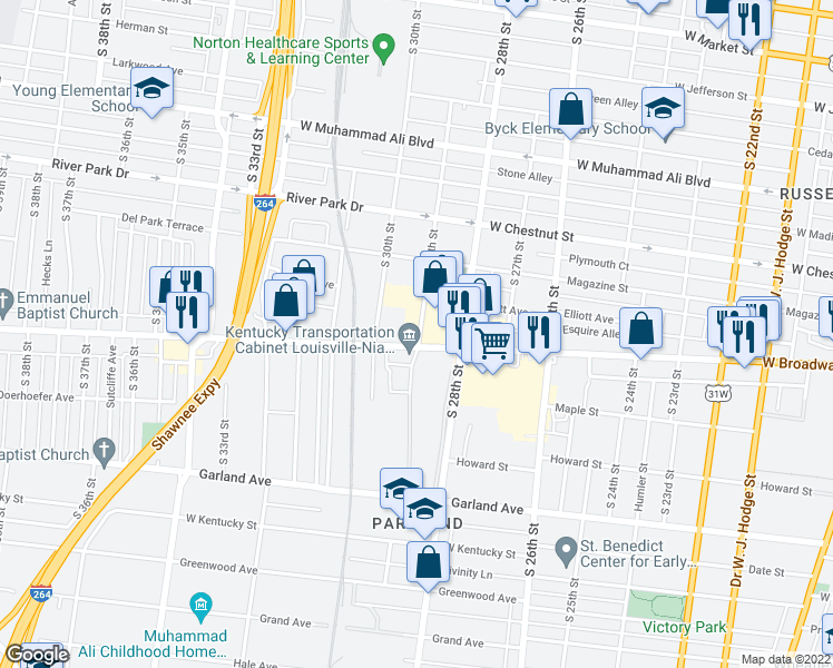 map of restaurants, bars, coffee shops, grocery stores, and more near in Louisville