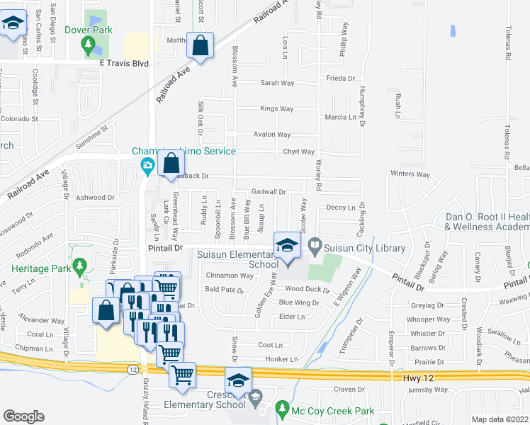 map of restaurants, bars, coffee shops, grocery stores, and more near 819 Scaup Lane in Suisun City