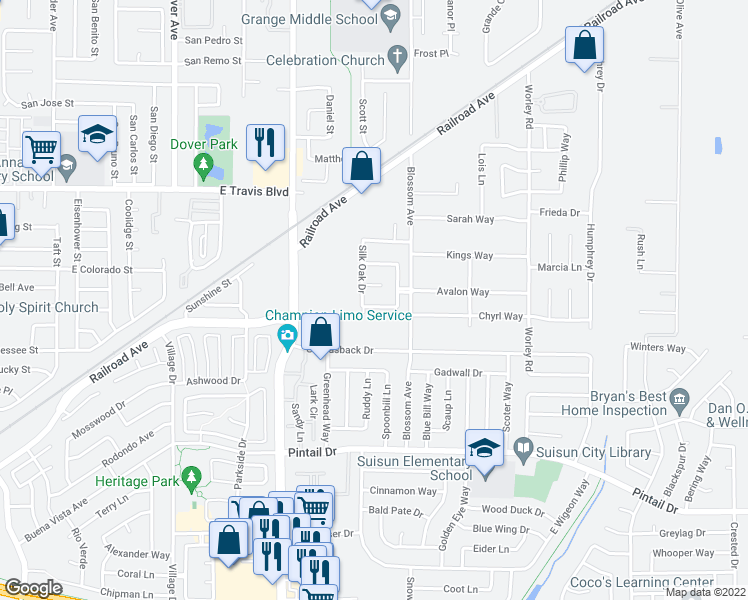 map of restaurants, bars, coffee shops, grocery stores, and more near 360 Hibiscus Lane in Suisun City