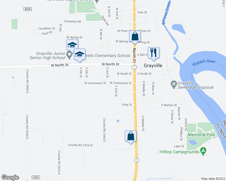 map of restaurants, bars, coffee shops, grocery stores, and more near 320 South 2nd Street in Grayville