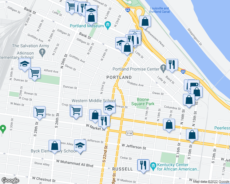 map of restaurants, bars, coffee shops, grocery stores, and more near 2145 Duncan Street in Louisville
