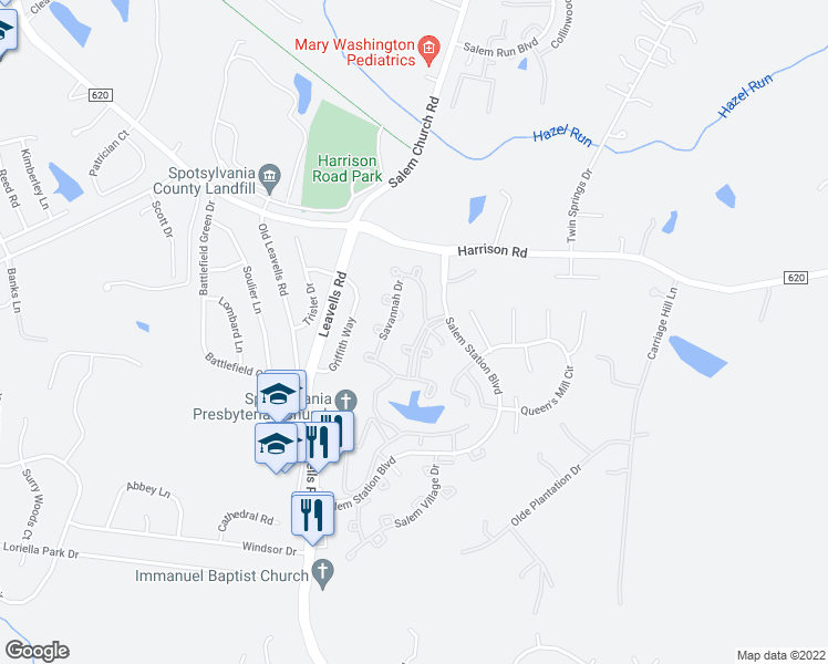 map of restaurants, bars, coffee shops, grocery stores, and more near 11242 Summerlake Boulevard in Fredericksburg