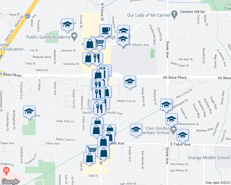 map of restaurants, bars, coffee shops, grocery stores, and more near 2249 Santa Ana Drive in Fairfield