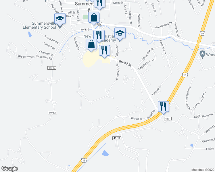 map of restaurants, bars, coffee shops, grocery stores, and more near 418 Dominick Circle in Summersville