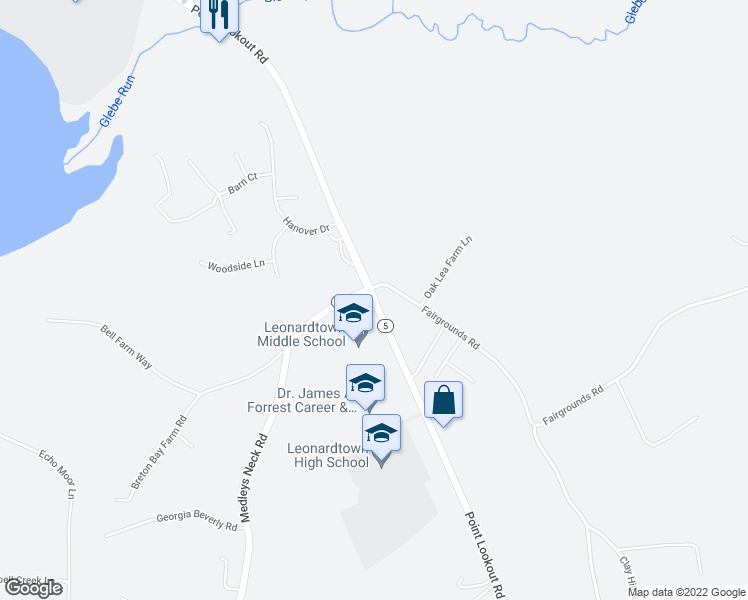 map of restaurants, bars, coffee shops, grocery stores, and more near 24092-24098 Point Lookout Road in Leonardtown