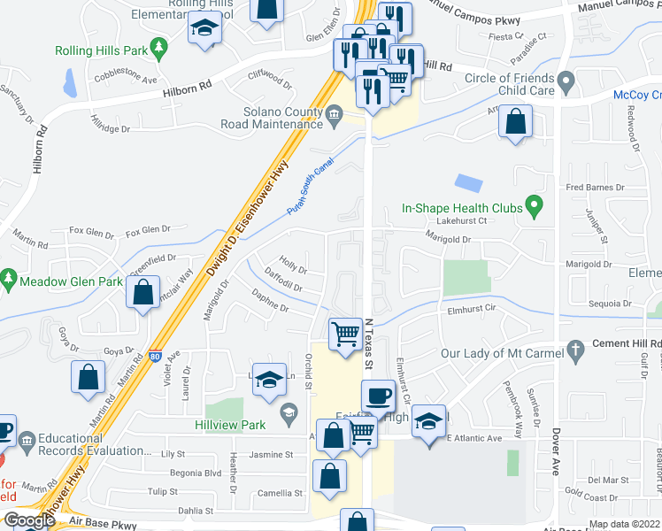 map of restaurants, bars, coffee shops, grocery stores, and more near 2948 Orchid Street in Fairfield