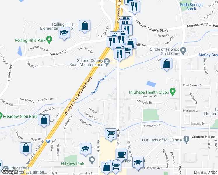 map of restaurants, bars, coffee shops, grocery stores, and more near 3001 North Texas Street in Fairfield