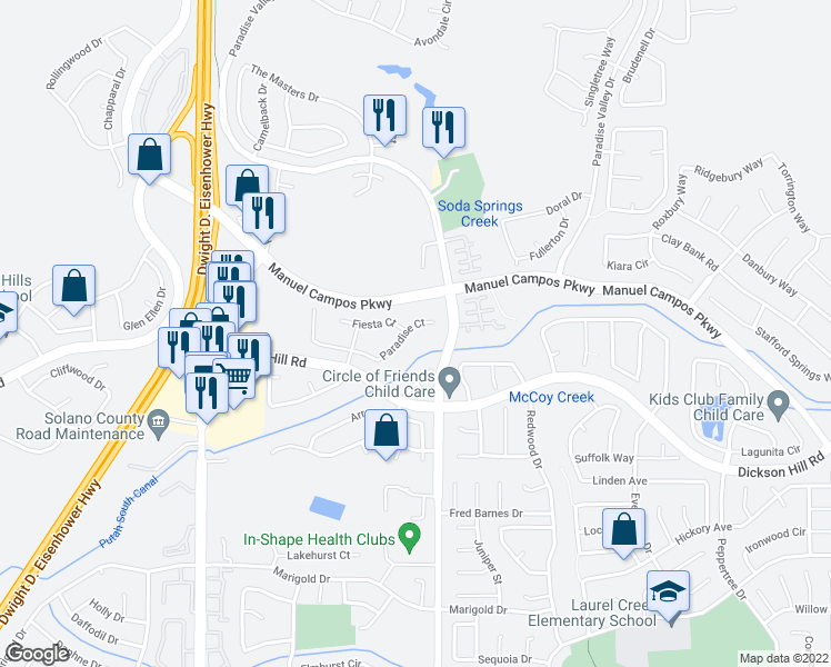 map of restaurants, bars, coffee shops, grocery stores, and more near 609 Paradise Court in Fairfield