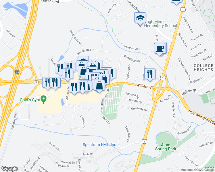 map of restaurants, bars, coffee shops, grocery stores, and more near Plank Rd & Huntington Hills Ln in Fredericksburg