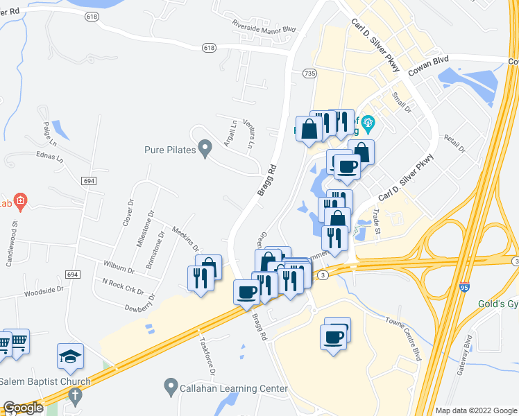 map of restaurants, bars, coffee shops, grocery stores, and more near 1401 Bragg Road in Fredericksburg