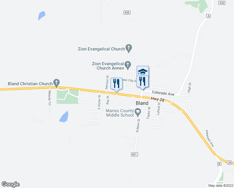 map of restaurants, bars, coffee shops, grocery stores, and more near 307 Highway 28 in Bland