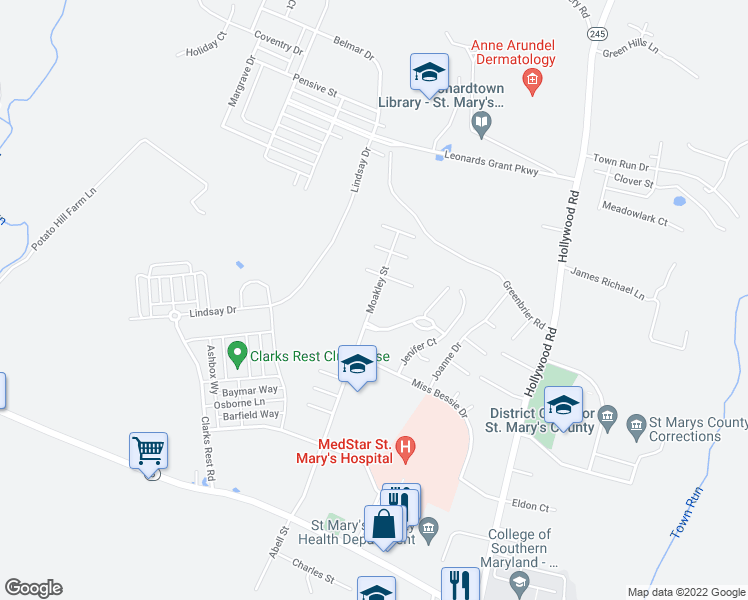 map of restaurants, bars, coffee shops, grocery stores, and more near Moakley Street in Leonardtown