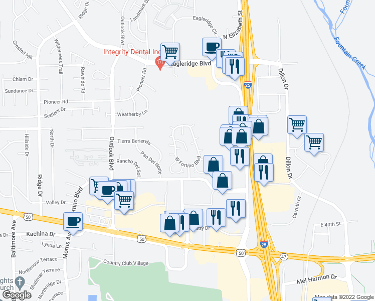 map of restaurants, bars, coffee shops, grocery stores, and more near 999 Fortino Boulevard in Pueblo