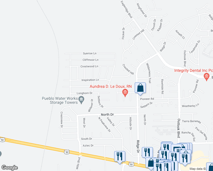map of restaurants, bars, coffee shops, grocery stores, and more near 2226 Meadowlark Lane in Pueblo