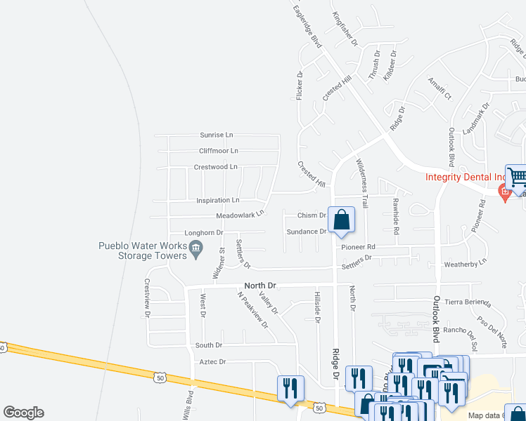 map of restaurants, bars, coffee shops, grocery stores, and more near 2210 Meadowlark Place in Pueblo