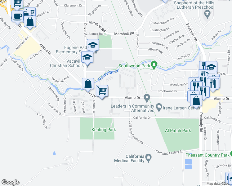 map of restaurants, bars, coffee shops, grocery stores, and more near 1507 Alamo Drive in Vacaville