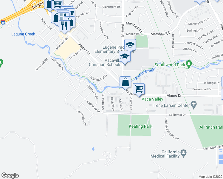 map of restaurants, bars, coffee shops, grocery stores, and more near 1414 Alamo Drive in Vacaville