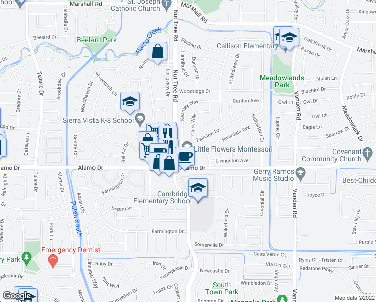 map of restaurants, bars, coffee shops, grocery stores, and more near 120 Fairview Drive in Vacaville