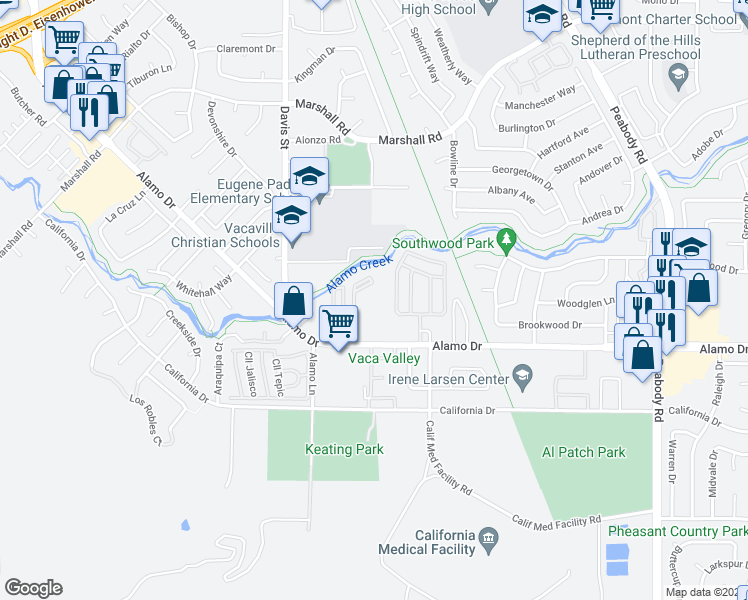 map of restaurants, bars, coffee shops, grocery stores, and more near 1501 Alamo Drive in Vacaville