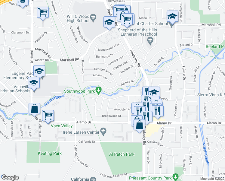 map of restaurants, bars, coffee shops, grocery stores, and more near 208 Andrea Drive in Vacaville