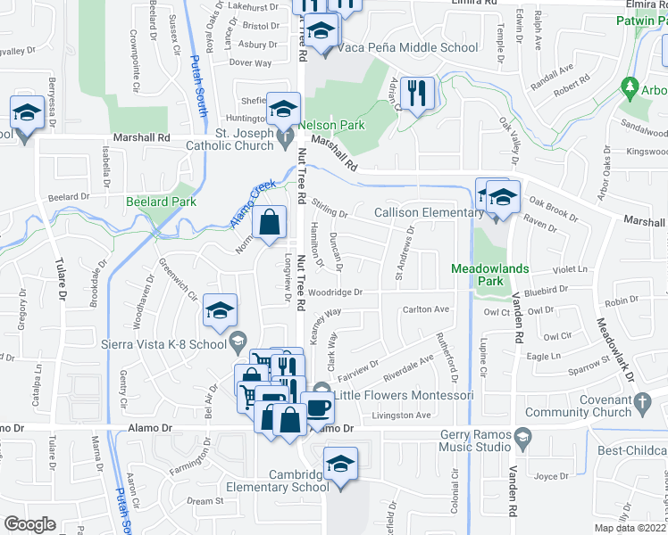 map of restaurants, bars, coffee shops, grocery stores, and more near 609 Hamilton Drive in Vacaville