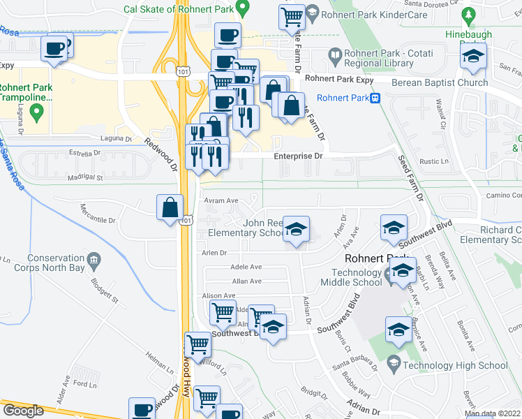 map of restaurants, bars, coffee shops, grocery stores, and more near 291 Santa Alicia Drive in Rohnert Park
