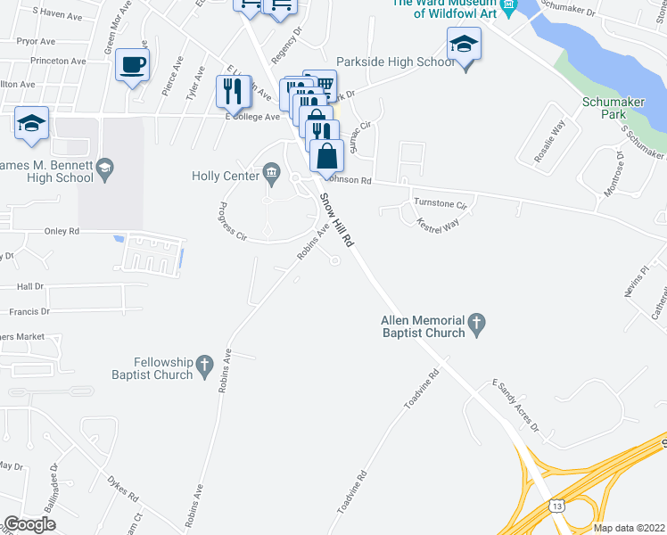map of restaurants, bars, coffee shops, grocery stores, and more near 1000 Marley Manor Drive in Salisbury