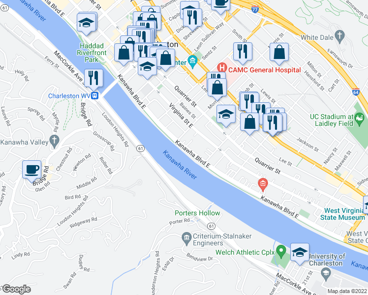 map of restaurants, bars, coffee shops, grocery stores, and more near 1330-1360 Kanawha Boulevard East in Charleston