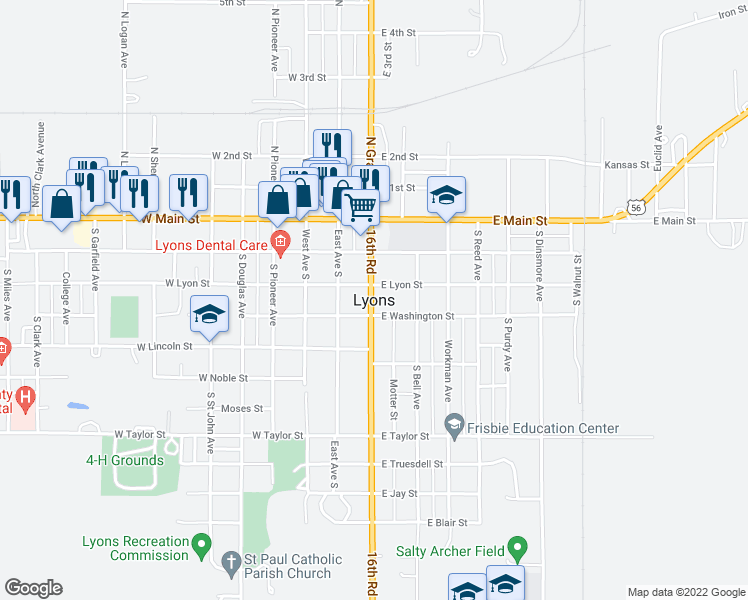 map of restaurants, bars, coffee shops, grocery stores, and more near 800 Workman Avenue in Lyons