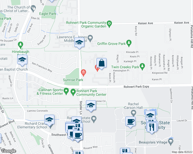 map of restaurants, bars, coffee shops, grocery stores, and more near 1331-1425 Medical Center Drive in Rohnert Park
