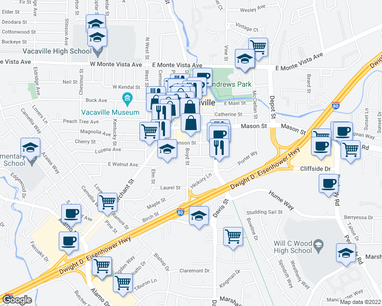 map of restaurants, bars, coffee shops, grocery stores, and more near 523 Boyd Street in Vacaville