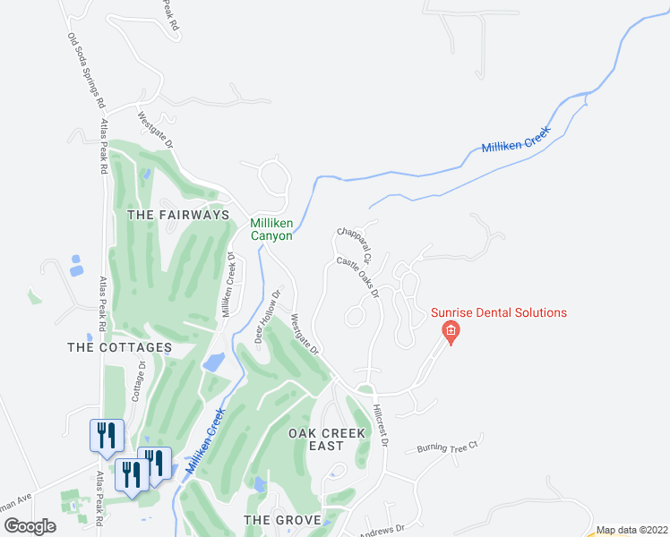 map of restaurants, bars, coffee shops, grocery stores, and more near 1130 Castle Oaks Drive in Napa