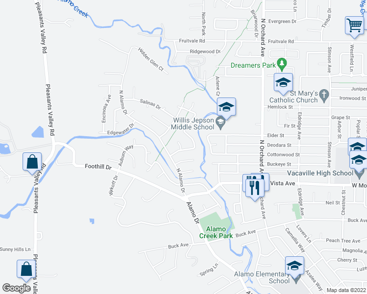 map of restaurants, bars, coffee shops, grocery stores, and more near 119 Cheyenne Drive in Vacaville