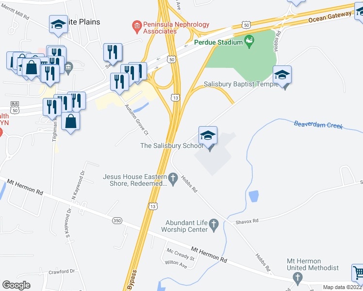 map of restaurants, bars, coffee shops, grocery stores, and more near 6171 Hobbs Road in Salisbury