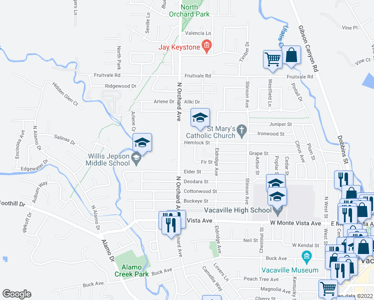 map of restaurants, bars, coffee shops, grocery stores, and more near 511 Hemlock Court in Vacaville