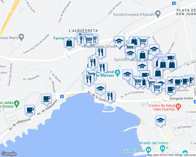 map of restaurants, bars, coffee shops, grocery stores, and more near 12 Calle Cronos in Alicante
