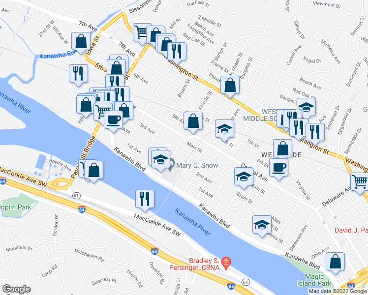 map of restaurants, bars, coffee shops, grocery stores, and more near 1326 1/2 Grant Street in Charleston