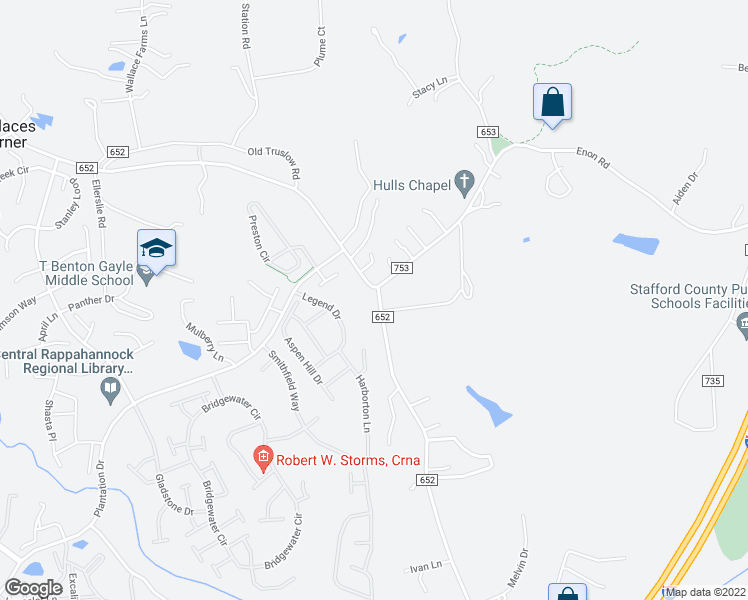 map of restaurants, bars, coffee shops, grocery stores, and more near 809 Truslow Road in Fredericksburg