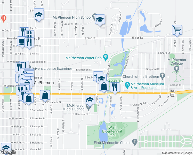 map of restaurants, bars, coffee shops, grocery stores, and more near East Euclid Street in McPherson