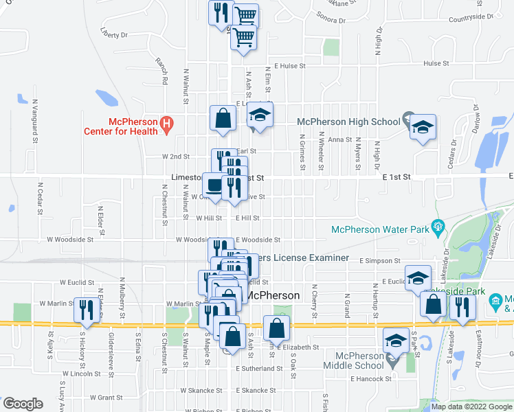 map of restaurants, bars, coffee shops, grocery stores, and more near 614 North Ash Street in McPherson