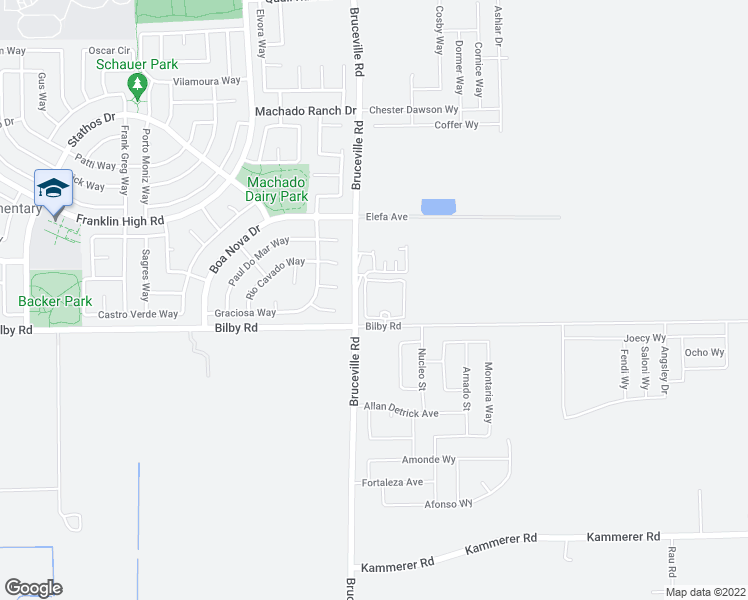 map of restaurants, bars, coffee shops, grocery stores, and more near 7301 Bilby Road in Elk Grove