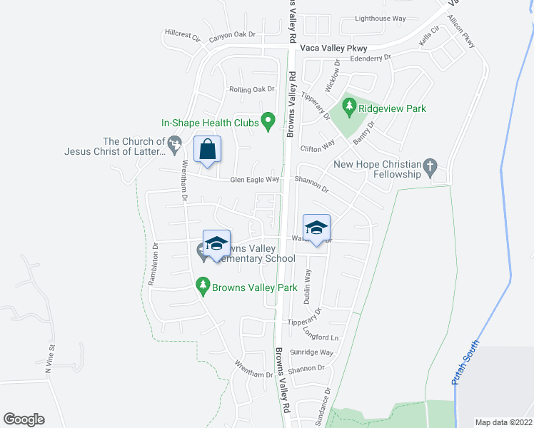 map of restaurants, bars, coffee shops, grocery stores, and more near 2006 Brustlin Court in Vacaville