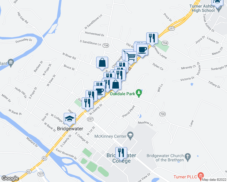 map of restaurants, bars, coffee shops, grocery stores, and more near 426 North Main Street in Bridgewater