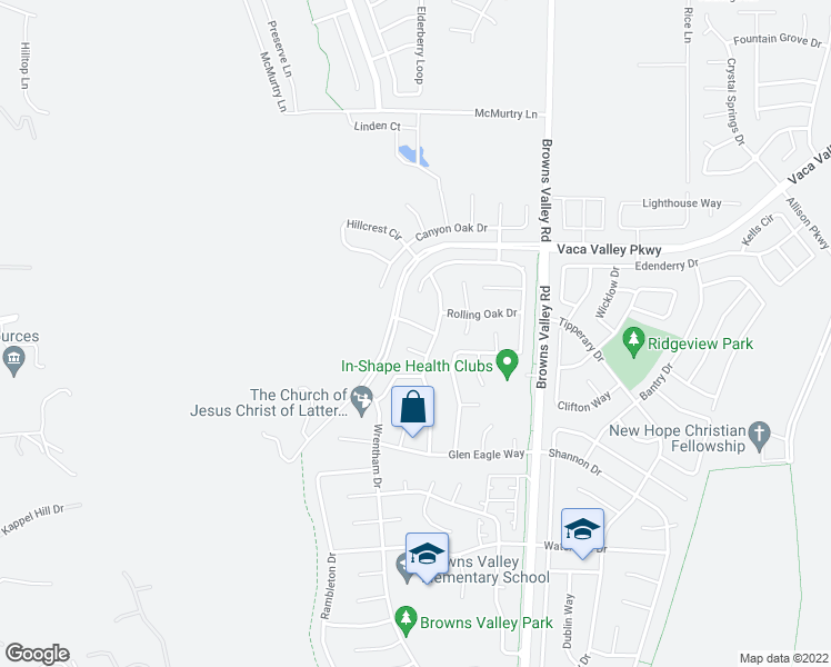 map of restaurants, bars, coffee shops, grocery stores, and more near 212 Grey Wolf Drive in Vacaville