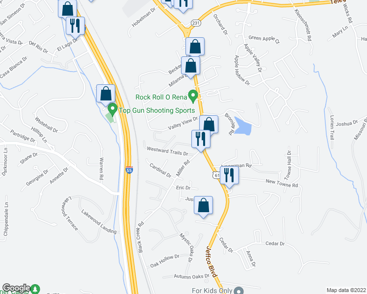 map of restaurants, bars, coffee shops, grocery stores, and more near 1004 Elk Run Drive in Imperial