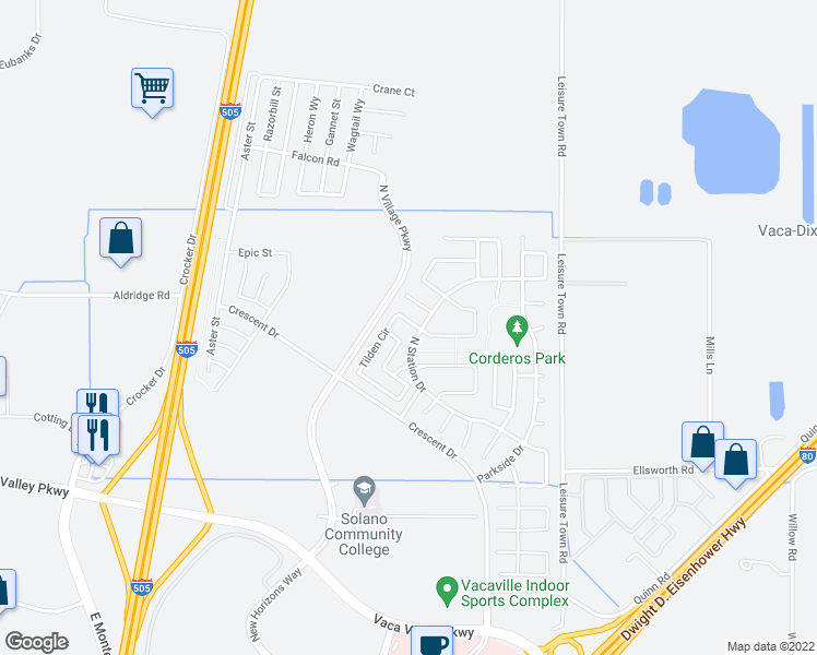 map of restaurants, bars, coffee shops, grocery stores, and more near 307 Tilden Circle in Vacaville