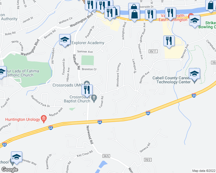 map of restaurants, bars, coffee shops, grocery stores, and more near 3238 Arlington Boulevard in Huntington