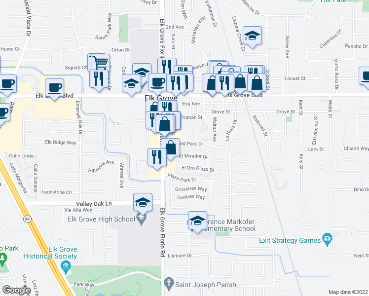 map of restaurants, bars, coffee shops, grocery stores, and more near 9508 Emerald Park Drive in Elk Grove