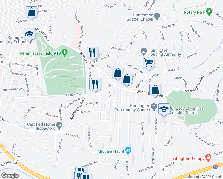 map of restaurants, bars, coffee shops, grocery stores, and more near 22 Fairfax Drive in Huntington
